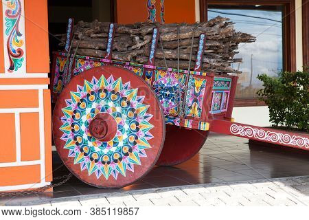 Sarchi, Costa Rica - November 23, 2015: The Largest Brightly Painted Oxcart In The World At Sarchi,