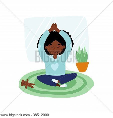 Cute African American Girl Put Down A Toy And Meditates In Lotus Or Padmasana Pose With Hands Up Abo