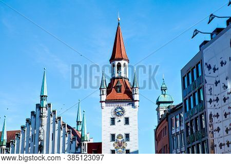 Munich, Germany - March 5, 2018: Old Townhall At Marienplatz In Munich (mary's Square)