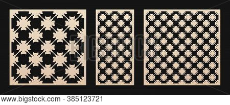 Laser Cut Panel Set. Vector Template With Geometric Pattern In Arabian Style, Floral Ornament, Grid,