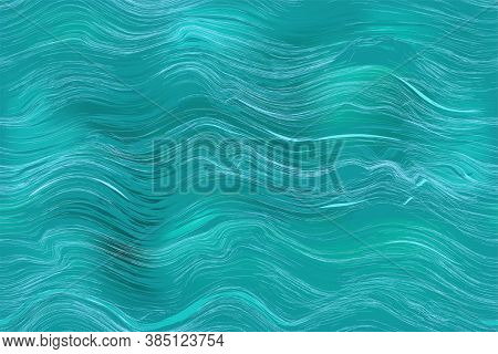 Seamless  Abstract Background With Ocean Rippled Surface In Blue, Green Colors For Web Design