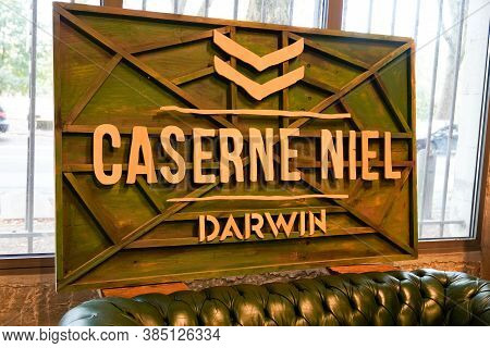 Bordeaux , Aquitaine / France - 09 01 2020 : Caserne Niel Sign Text And Darwin Logo Front Of Old Bar