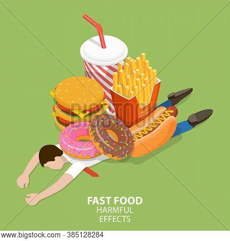 Fast Food Harmful Effects, Junk Food Danger, Unhealthy Nutrition Eating Risks.