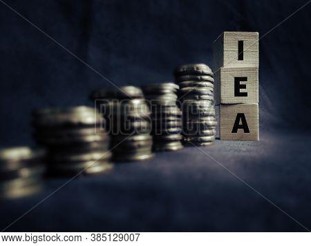 Iea Word Written On Wooden Blocks. Stock Photo.