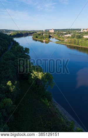 Mississippi River Valley Viewed From Atop Smith Avenue Bridge In Saint Paul Minnesota