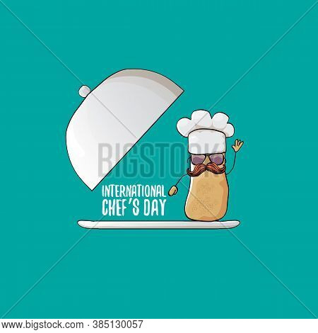 International Chef Day Greeting Card Or Banner. Vector Funny Cartoon Tiny Brown Smiling Chef Potato