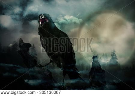 Creepy Black Crow Croaking In Misty Dark Forest On Full Moon Night
