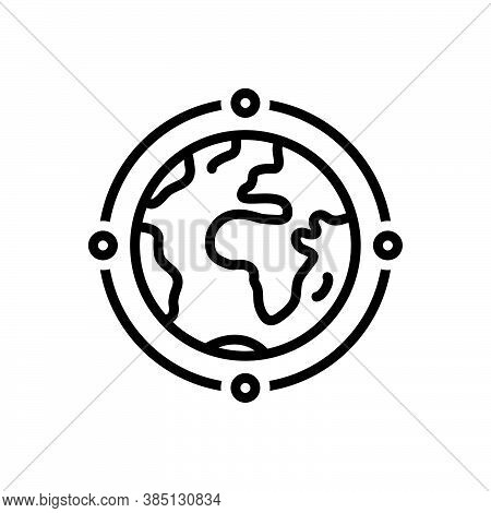 Black Line Icon For International Foreign Global World-wide Geography Continent Multinational