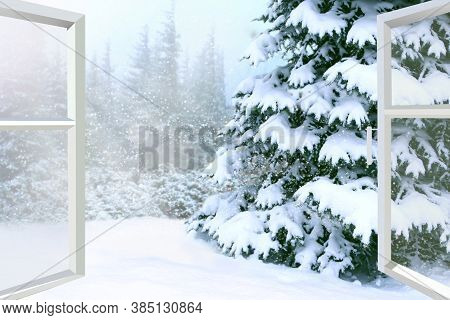 Window Opened To Winter Forest. Window Opened To Winter Landscape. Panorama From Window. Widow Overl