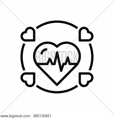 Black Line Icon For Alive Cardiogram Ecg Healthy Beat Cardio Heartbeat Diagnose