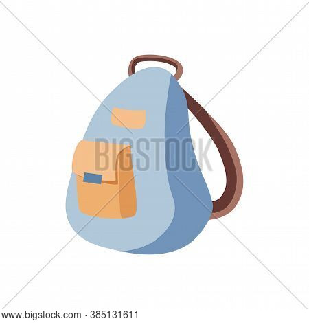 School Or Traveling Backpack Vector Flat Illustration Isolated On White Background. Backpack For Sch