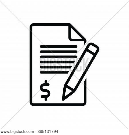 Black Line Icon For Claim Demand Requirement Application Money Checklist Document