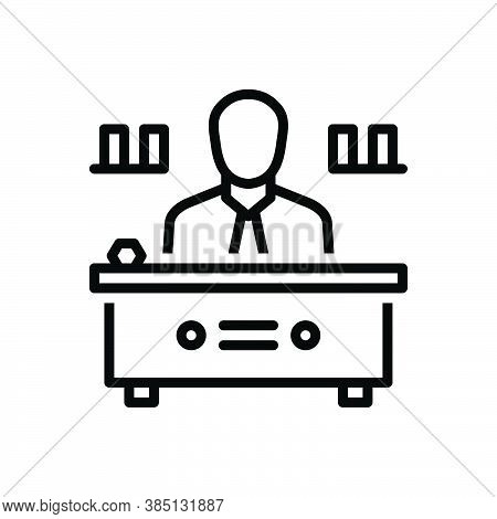 Black Line Icon For Director Manager Warden Administrator Chief Executive Head Producer Supervisor