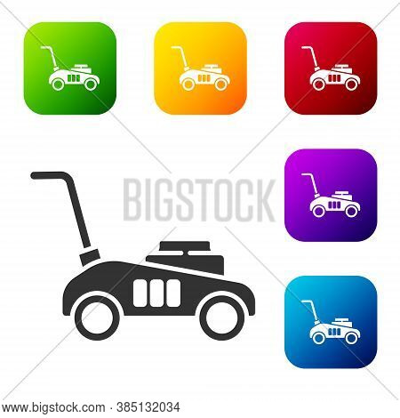 Black Lawn Mower Icon Isolated On White Background. Lawn Mower Cutting Grass. Set Icons In Color Squ