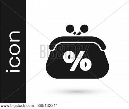 Grey Purse Money Percent Icon Isolated On White Background. Percent Loyalty Wallet Sign. Vector Illu