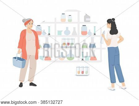 Young And Old Women Choosing Drugs In Pharmacy Vector Flat Illustration. People In Drugstore Buying