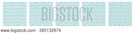 Set Of Wavy Zigzag Lines. Wave Thin Line Background. Vector Zigzag And Wavy Blue Horizontal Underlin
