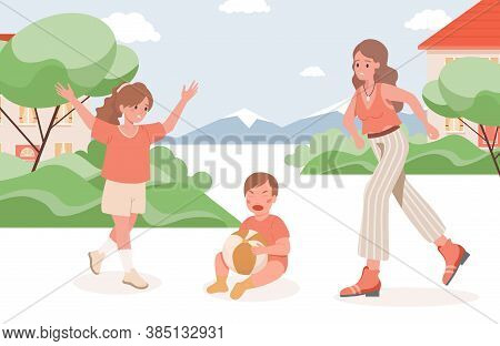 Mother And Girl Run To Crying Baby Vector Flat Illustration. Child Fall And Crying. Parenting And Mo