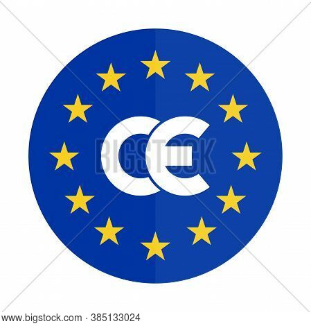 Ce Mark Blue Sticker. Ce Symbol, Isolated On White Background. European Conformity Certification Mar