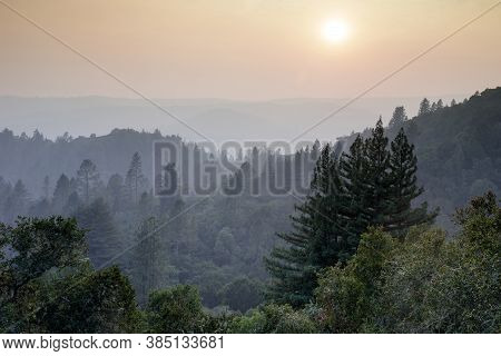 Smoky Sunset Over Santa Cruz Mountains During 2020 California Wildfires. Quail Hollow Ranch County P