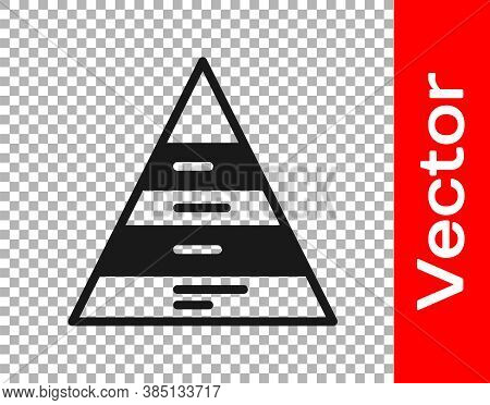 Black Business Pyramid Chart Infographics Icon Isolated On Transparent Background. Pyramidal Stages