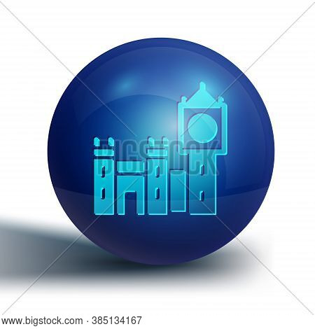 Blue Big Ben Tower Icon Isolated On White Background. Symbol Of London And United Kingdom. Blue Circ