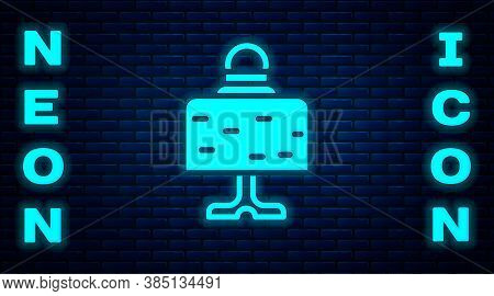 Glowing Neon Magic Ball On Table Icon Isolated On Brick Wall Background. Crystal Ball. Vector