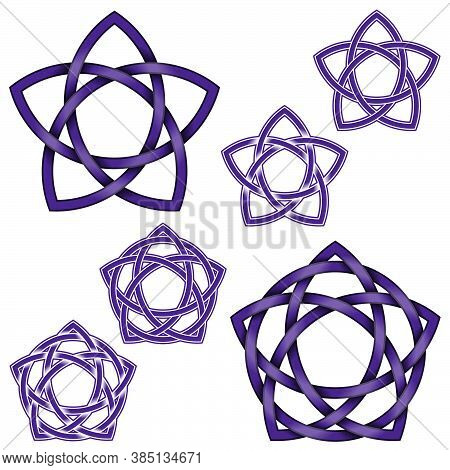 Vector Design Of Five Pointed Star Intertwined With Circle In Celtic Style, On White Background