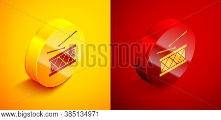 Isometric Musical Instrument Drum And Drum Sticks Icon Isolated On Orange And Red Background. Circle
