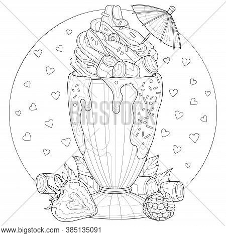 Milkshake With Cream, Marshmallows, Strawberries, Raspberries And Mint. Antistress Coloring Book For