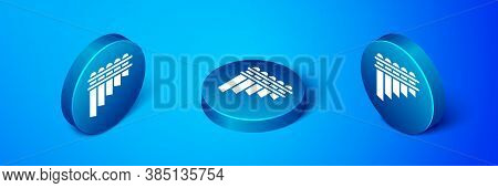 Isometric Pan Flute Icon Isolated On Blue Background. Traditional Peruvian Musical Instrument. Zampo
