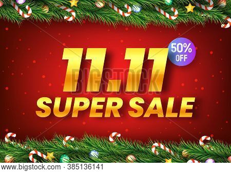 Golden November 11 Super Sale Shopping Day With Christmas Tree Branches Decorated With Stars, Balls