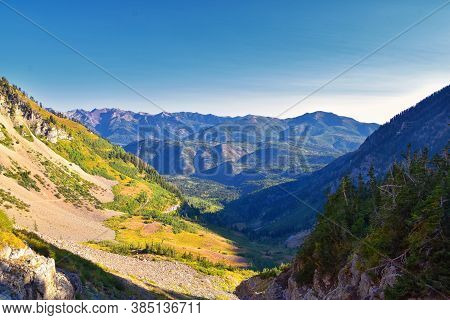 Timpanogos Hiking Trail Landscape Views In Uinta Wasatch Cache National Forest, Around Utah Lake, In