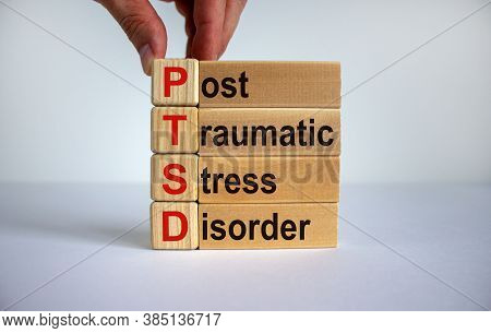 Concept Words 'ptsd, Post-traumatic Stress Disorder' On Cubes And Blocks On A Beautiful White Backgr