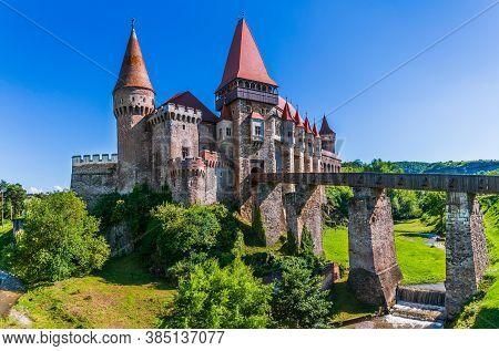 Hunedoara, Romania. Beautiful Panorama Of The Corvin Castle ( Hunyad Castle), Hunedoara, Transylvani