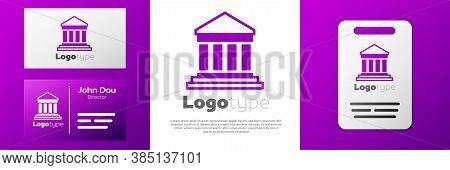Logotype Parthenon From Athens, Acropolis, Greece Icon Isolated On White Background. Greek Ancient N