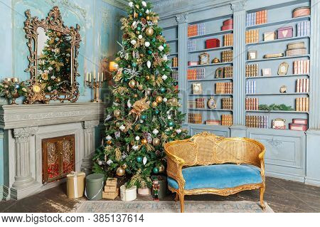 Classic Christmas New Year Decorated Interior Room Home Library With Fireplace. Christmas Tree With