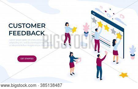 Customer Feedback. Online Review. Rating Flat Vector Concept. Isometric Tiny People Cling Stars To T