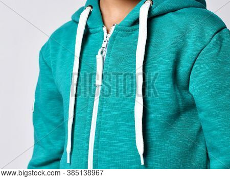 Close The Zipper On The Blazer. Textile Background And Fabric Background Texture. Zipper Opens Cloth