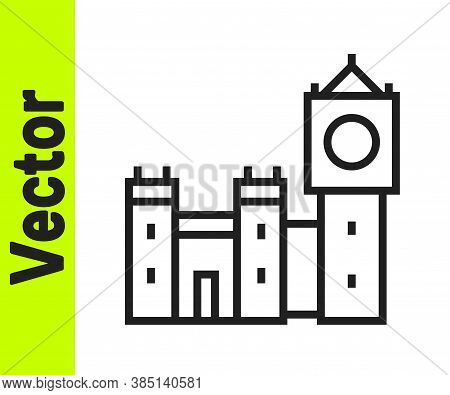 Black Line Big Ben Tower Icon Isolated On White Background. Symbol Of London And United Kingdom. Vec