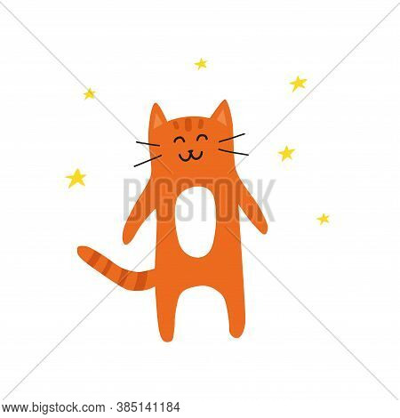 Cute Doodle Orange Or Ginger Smiling Cat With Stars Around Isolated On White Background.