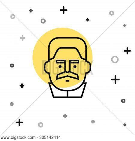Black Line Portrait Of Joseph Stalin Icon Isolated On White Background. Random Dynamic Shapes. Vecto
