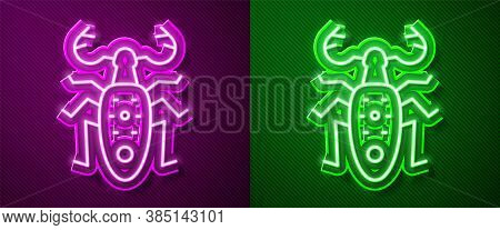 Glowing Neon Line Beetle Deer Icon Isolated On Purple And Green Background. Horned Beetle. Big Insec