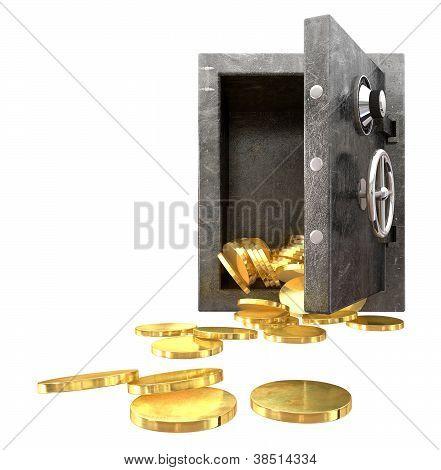 Safe Spilling Coins Front,