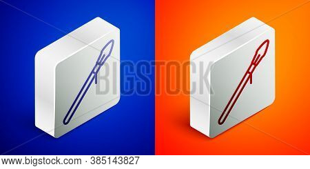 Isometric Line Medieval Spear Icon Isolated On Blue And Orange Background. Medieval Weapon. Silver S