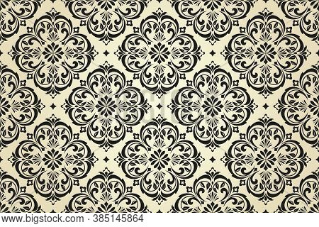Wallpaper In The Style Of Baroque. Seamless Vector Background. Black And Beige Floral Ornament. Grap