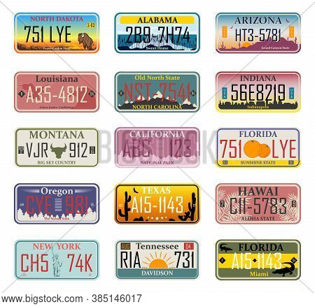 Car Numbers Of Vehicle Registration In Usa States (abstract Numbers). Car Plates. Vehicle License Nu