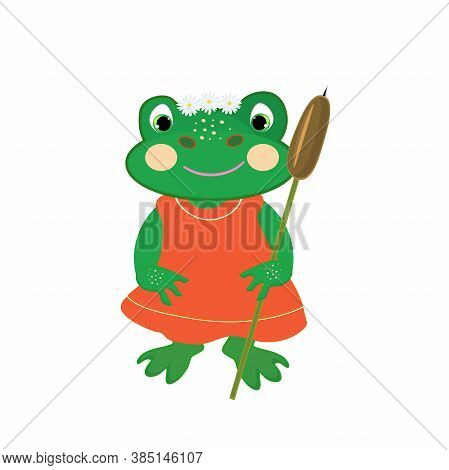 Cartoon Frog Holding A Reed And Wearing Chamomile Wreath.