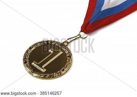 Gold Medal For First Place In Competition Isolated On White Background