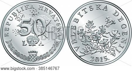 Croatian 50 Lipa Coin, Degenia On Reverse, State Title And Indication Of Value On Obverse, Official